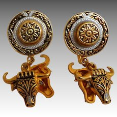 Spanish Damacene Earrings.  Matador Themed.  Screw Backs.  Mint Condition.