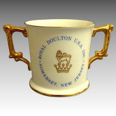 Royal Doulton Made in England Presentation 2 Handled Mug.  Somerset, New Jersey.  Perfect Condition.