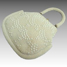 GOLDCO 1950's White on White Beaded Purse. Beaded Handle.  Made in Hong Kong. Mint Condition.