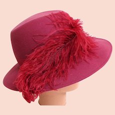 4516cc986f7440 Rose Fedora with Ostrich Plume. Wool Felt. Totally Elegant. Mint Condition.