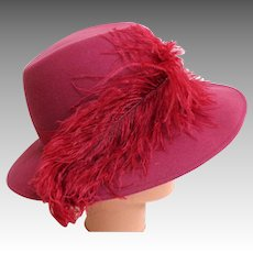 Rose Fedora with Ostrich Plume.  Wool Felt. Totally Elegant.  Mint Condition.