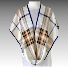 Lord & Taylor 100% Silk Long Rectangular Scarf.  White, Blue, and Brown.  MWT.