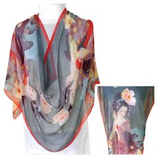 Chinese 100% Silk Chiffon Scarf.  Incredible Graphics.  Large. Exquisite. As New Condition.