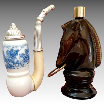 Two Avon Perfume Containers.  Horse Head and Pipe.  Mint Condition.
