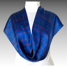 Liz Claiborne Designer Signed 100% Silk Scarf.  Oblong. Blue and Red.  As New Condition.