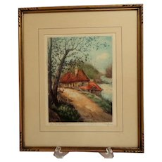 Rene Ludovic Raffray. Framed  French Aquatint Etching.  Signed. View of  River  Canche. Lovely. Mint Condition.