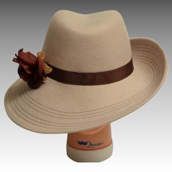 Elegant Brimmed LUCILLE Hat. Baize and Brown.  Wool Felt.