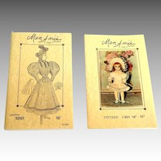 2 Mon Amie Full Size Doll Patterns.  Unused.  As New.