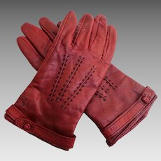 RALPH LAUREN  Butter Soft Wine Leather Gloves.  Lined.  Mint Condition.