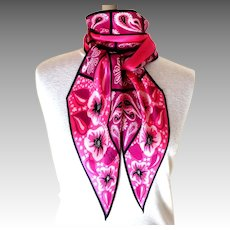 Monique Martin 100% Silk Scarf.  Rose & Black.  Bias Cut.  Signed.  Exquisite.  As New Condition.