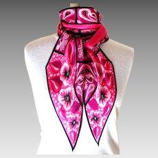 Monique Martin 100% Silk Scarf.  Rose & Black.  Bias Cut.  Signed.  Exquisite.  As New Condition.