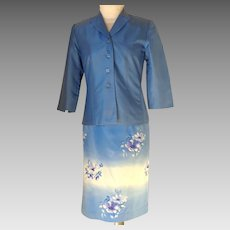 TA Travis Ayers Silk Suit. Jacket & Skirt.  Blue.  Small Size.