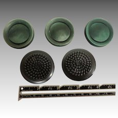 Bakelite.  Old Coat Buttons. Large. Five.  Dark Green and Gray.
