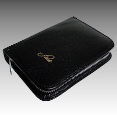 Genuine Leather Playing Card Case.  Black.  Single Deck and Score Pad.