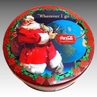 Vintage Biscuit Tin.  Santa Claus. Coca-Cola.  Poinsettias.