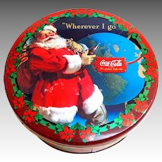 Vintage Biscuit Tin.  Santa Claus. Coca-Cola.  Poinsettias.