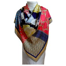 COACH 100% Silk Designer Scarf.  Signed.  Beautiful Graphics.  As New Condition.