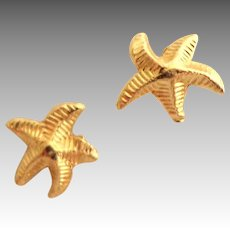 14 Kt. Gold Tiny Earrings.  Star Fish Design.