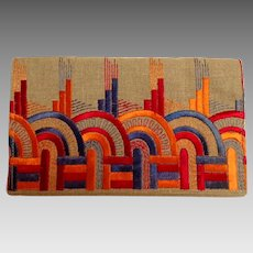 Art Deco French Embroidered Fabric Silk / Hemp Foldover Clutch Purse.  1920's.  Slim Lines.
