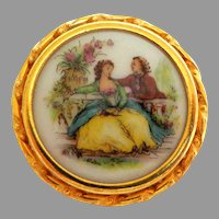 Limoges Porcelain Gold Plated Brooch.  Made in France.  Barrel Clasp.  Mint Condition.