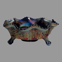 V. Rare Footed, Flared Carnival Glass Bowl.  Amethyst, Purples, Wine.  Butterflies and Grape Vines Pattern.  Perfect Condition.