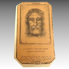 1906 French Religious Holy Picture.  Missal Card.  Face of Jesus from the Turin Shroud.