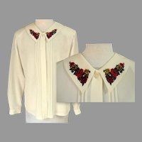 1980's Classic Blouse.  Embroidered Peter Pan Collar.  Long Sleeves.  Off White. Mint Condition.