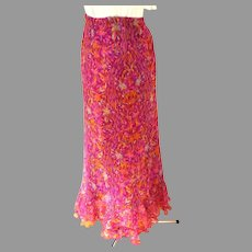 Laura Petite Bias Cut Polyester Chiffon Frilled Skirt.  Rose, Purple & Green.  Lined.  Mint Condition.
