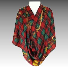 RALPH LAUREN 100% Silk.  Signed.  Iconic design.  Plaid and Equestrian Motif.  V. Large.  As New Condition.