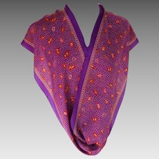 ANNE KLEIN Silk Scarf. Oblong.  Signed. Royal Purple and Red.  Stunning.  As New Condition.