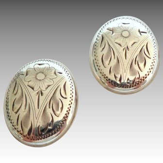Engraved Solid Sterling Earrings. Clip On.  Large.  Beautiful.
