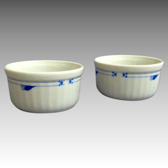 Set of Two Spode Ramekins.  Made in England.  Blue and White.  Mint Condition.