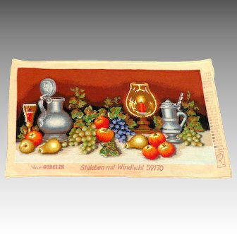 Vintage Large German Needlepoint Tapestry.  Handworked. Still Life with Fruit and Steins.  Mint condition.