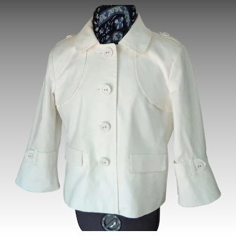 Rafaella White Cotton Jacket.  Wonderful Details.  Mint Condition.