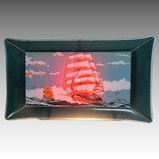 TV Lamp. Double Lights. Wall Hanging.  Framed Sailing Ships. Glass.  Mint Condition.
