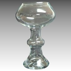 Tall Crystal Hollow Stem Rose Bowl / Vase.  German.  Mid-Century.  Mint Condition.
