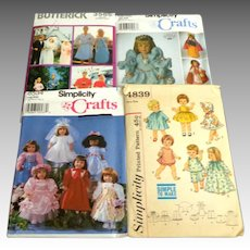 """4 Doll Patterns.  18"""" and 11 1/2"""" Dolls."""