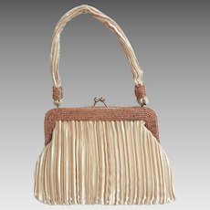 Exquisite VIOLA Beaded and Ribbed Satin Evening Handbag.  Champagne.  As New Condition.