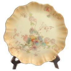 1889 Doulton Burslem Plate C2020.  Gilt Edged Floral Design.  Mint Condition.