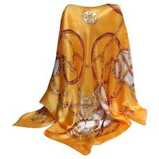 Golden Yellow 100% Silk Scarf.  Super Luxurious.  Mint Condition.