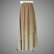 Full Length Asymmetrical 2 Tier Evening / Hostess Skirt and Matching Scarf.  Poly Crepe.  Taupe. Mint Condition.