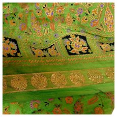3.3  Yds  Gold and Green Saree / Sari Embossed Rayon Fabric.  Perfect condition.