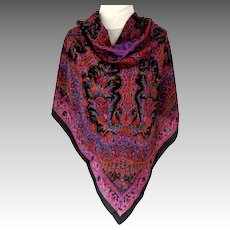 V. Large 100% Silk Scarf.  Black and Rose Paisley.  Perfect Condition.