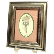 Charming Framed and Matted Victoriana Style Print of Fancy Needlework Scissors.  Mint Condition.
