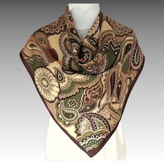 TALBOTS 100% Silk Scarf.  Brown, Olive and Cream.  Mint Condition.