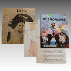LITTLE PEOPLE PALS. Patterns. Instructions. 1982.  Ephemera.