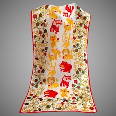 Charming Drawings of Jungle Animals Scarf.  Red, Green, Yellow.  Perfect Condition.
