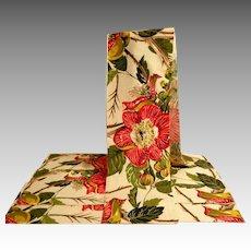 Vintage Large Barkcloth Swatches.  Tropical Floral Prints.  Five.  1940's.  Mint.  Unused Condition.