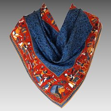 Ancient Egyptian Themed Scarf.  Blue and Terracotta.  Wonderful. Mint Condition.