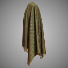 V. Large Peruvian Style Pashmina / Shawl.  Green and Brown.  As New Condition.